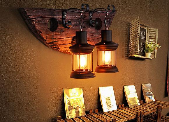 Indoor LED lighting dual vintage wooden wall lamp wood decor