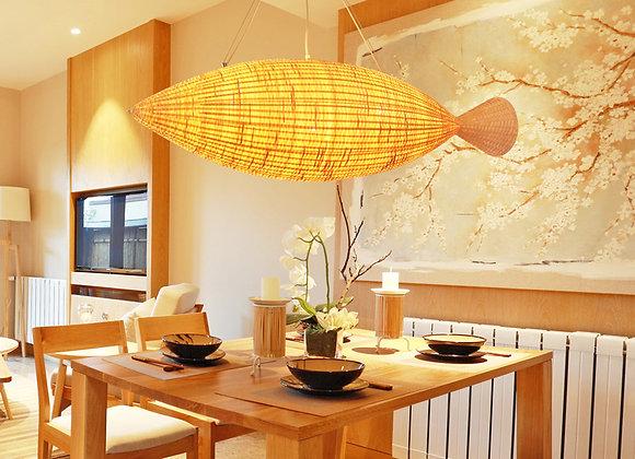 Large airship shade bamboo handmade hanging pendant lantern lamp