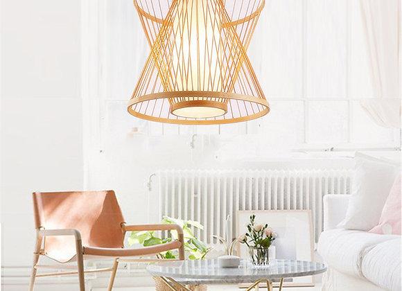 Residencial bambu chama luz sala lustres moderna luminária