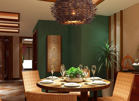 Indoor modern pendant hanging lamp covers shades bamboo material