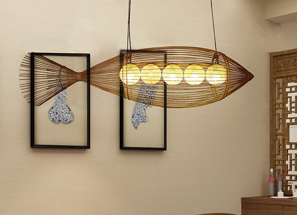 Bamboo and rattan knitting led fish light decorative hanging chandelier
