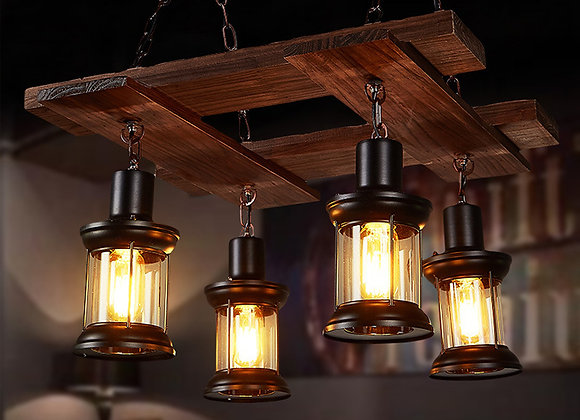 Pendant lights hanging chain ceiling lamp wood restaurant lamp