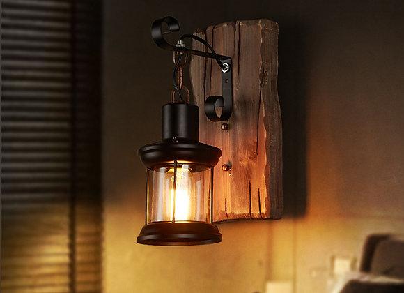 شنت الجدار الجرف الطبيعي الخشب المنحوت مصباح الجدار ضوء مربع