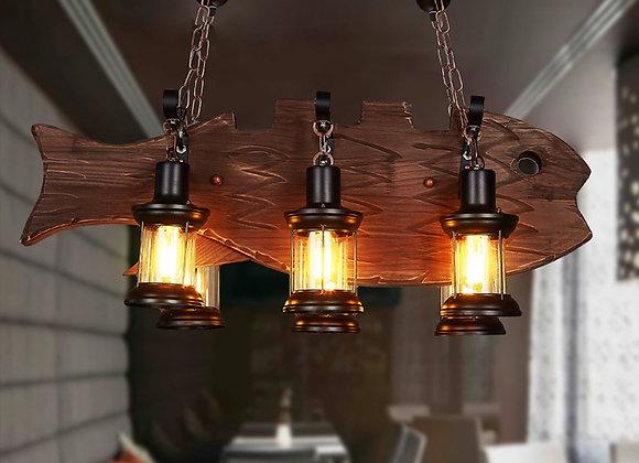 Vintage Bauernhaus Fisch Pendelleuchte Holzbeleuchtung Restaurant Kronleuchter