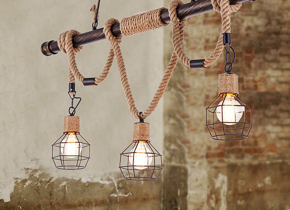 Industrial home decoration hemp rope material led lights vintage lamp shade