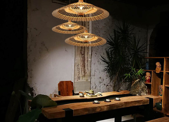 Modern unique bamboo lamp shade decorative hanging light for bar coffee