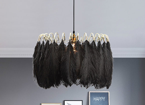 High ceiling chandelier black modern feather lamp balcony curtain light