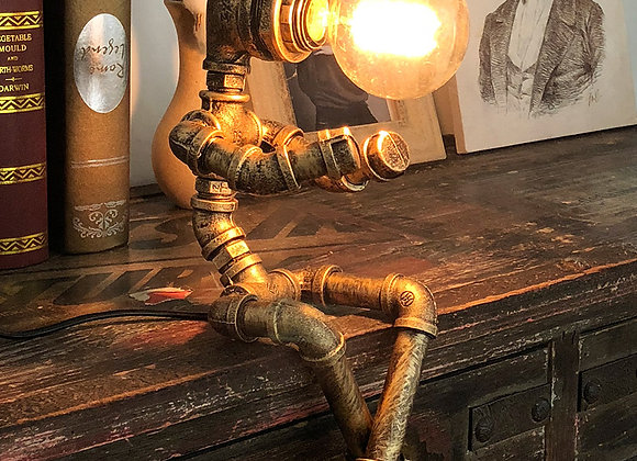 Vintage pipe lamp table small man shape reading light indoor