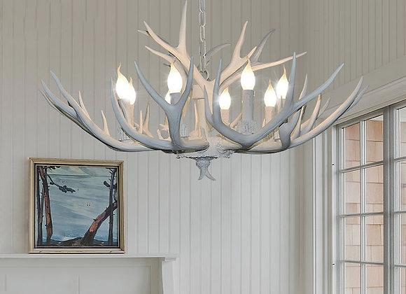 Zeitgenössische Art Deco führte moderne weiße Harz Geweih Kronleuchter Beleuchtung