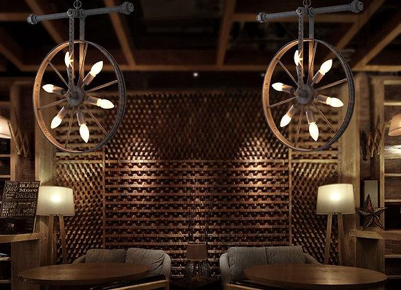 Vintage Wheel Chandelier Light Industrial Pendant Hanging Lamp Fixture