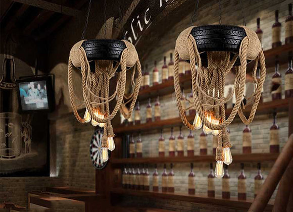 Creative tire wheel Hanging lamp Hemp Rope Light Fixture tyre led light