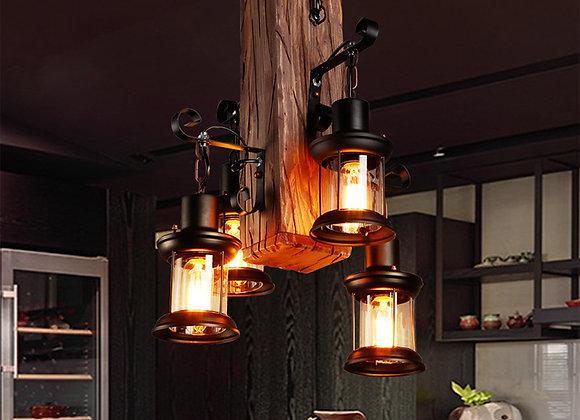 أدى ضوء خشبي خمر شنقا مصباح صندوق معدني أضواء الثريا
