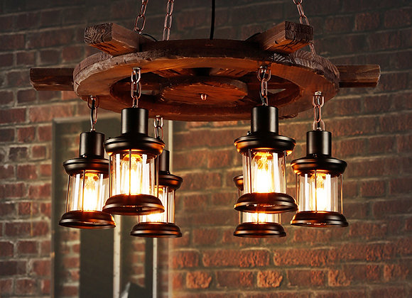 Large round steering wheel wood chandeliers lighting pendant lamp