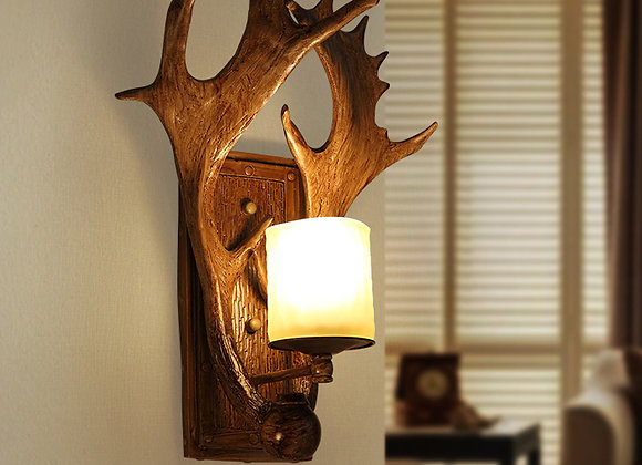 Rustic resin art lamp wall decoration led antler wall sconce light