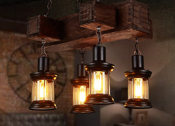 Vintage Wood Stand Hanging Pendant Chain rustic wooden chandelier Lamp