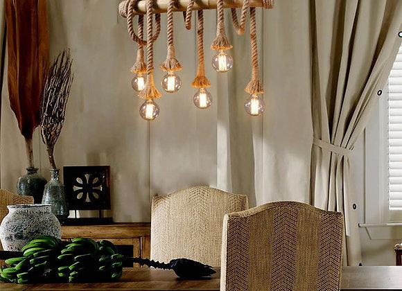 الإبداعية الطبيعية أضواء الخيزران المنسوجة قلادة مصباح مطعم حبل الثريا