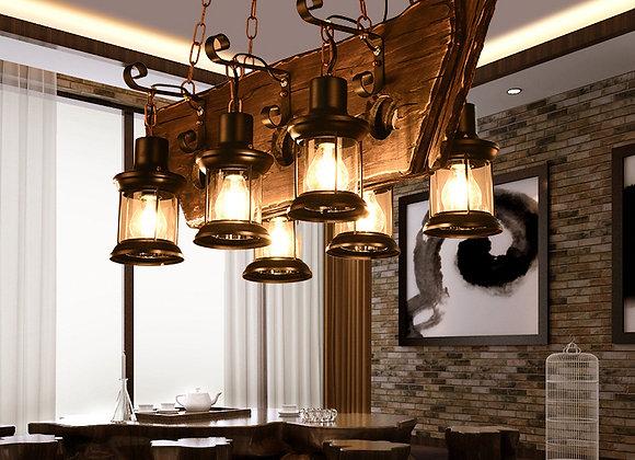 ضوء الثريا الخشب القارب ريفي مع تركيبات الإضاءة سلسلة معلقة قابل للتعديل