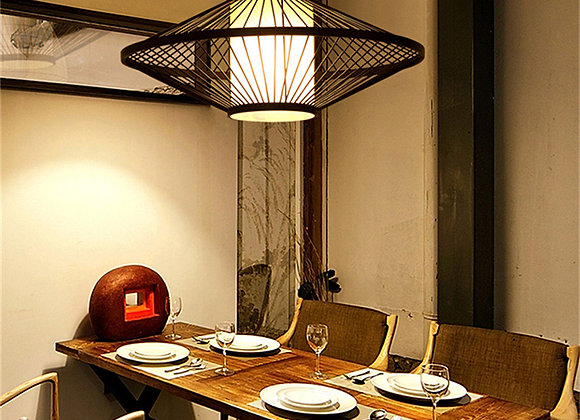 Suspended ceiling lighting turkish mosaic lamp bamboo shade pendant light led