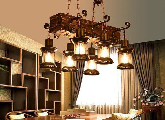 Decoração de casa retro lustre de madeira teto restaurante luz pingente
