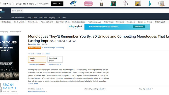 'Monologues They'll Remember You By' Debuts as the #1 New Release in Acting & Auditi