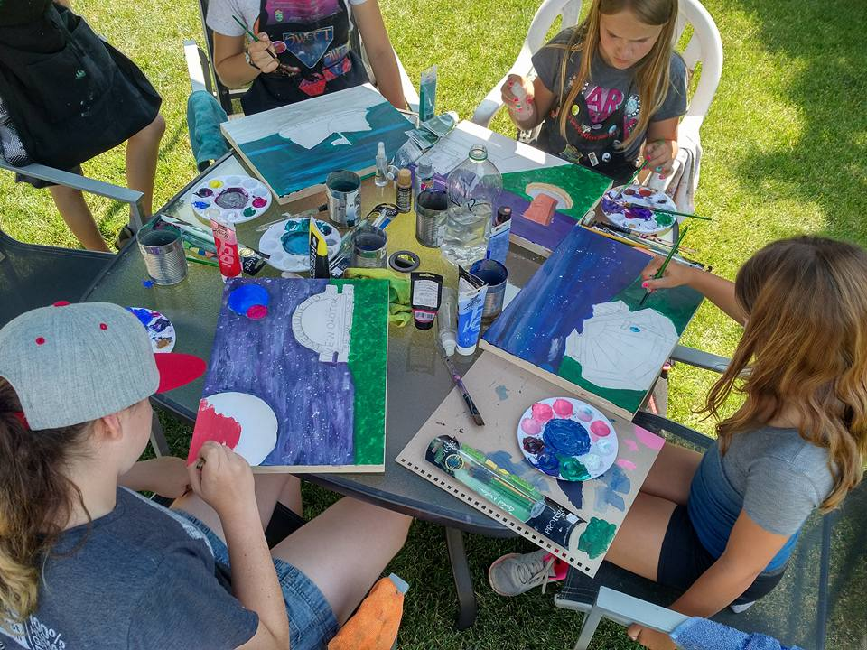 Painting outside Tech July Art Camp (2)