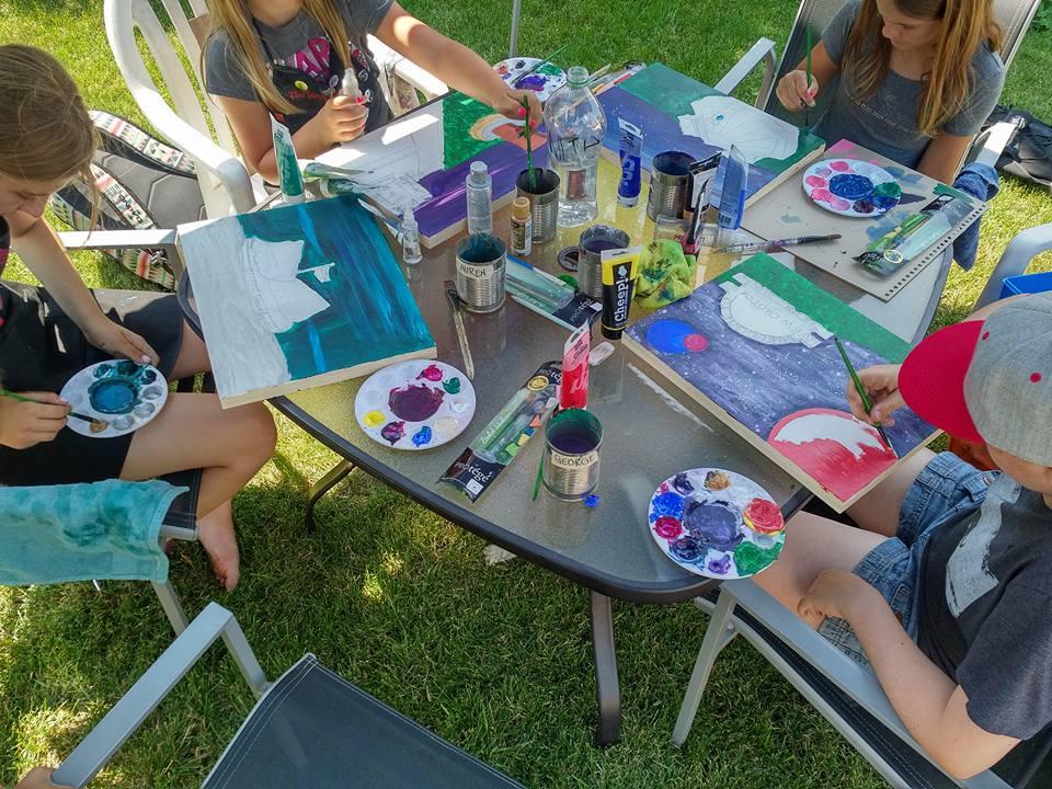 Painting outside Tech July Art Camp (1)