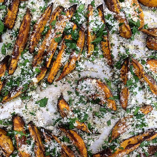 Baked Parmesan Sweet Potato Wedges #chef