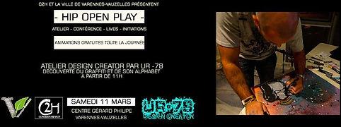 UR-78 atelier graffiti, customisation de vinyle et affiche, deco graffiti, HIP OPEN PLAY