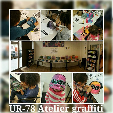 UR-78 deco graffiti, atelier graffiti animé par UR-78 pour la mairie de Paris avec les enfants, graffiti sur casquette, vinyles, toiles…