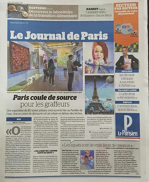 UR-78 participation au prix du Graffiti et du Street Art 2018 article paru dans le Parisien avec la tole de UR-78, deco graffiti