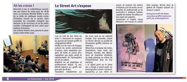 UR-78 exposition graffiti et street art ( déco graffiti, toiles, fresques, personnalisation, deco graffiti chambre d'enfants) article paru dans le Domontois