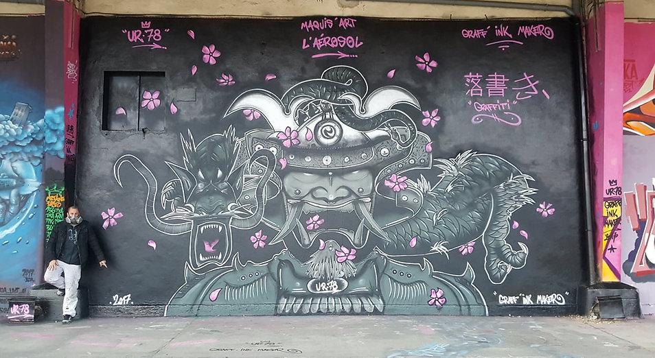 UR-78 deco graffiti à l'Aéorosol Paris pour Maquis-Art, samourai et dragon, deco graffiti, street art