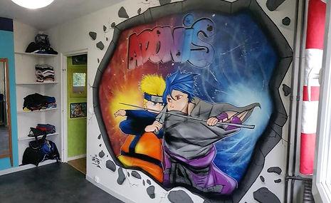 UR-78 artiste graffiti, deco graffiti chambre d'enfants sur le thème Naruto Vs Sasuke, tag, design et street art, UR-78 , street art, spray paint art, UR78 artiste graffiti,