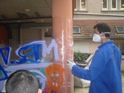 Entrainement à la bombe de peinture