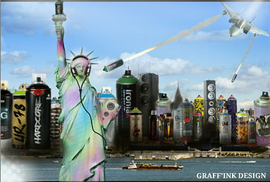 illustration de la ville de New York recrée par l'artiste UR-78 deco graffiti
