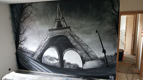 UR-78 artiste graffiti et street art, deco graffiti , graff ink maker deco graffiti, tag, design et street art, deco graffiti sur le thème Paris sur des placards