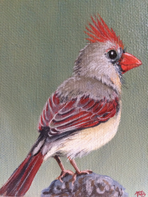 """SOLD""""Little Cardinal Lady"""""""