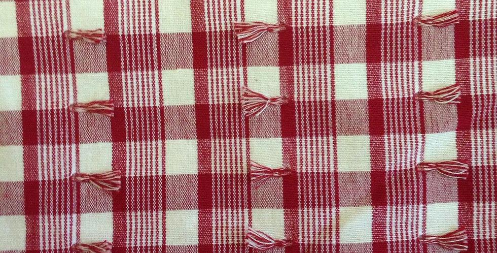 Red And White Eyelash Plaid Fabric