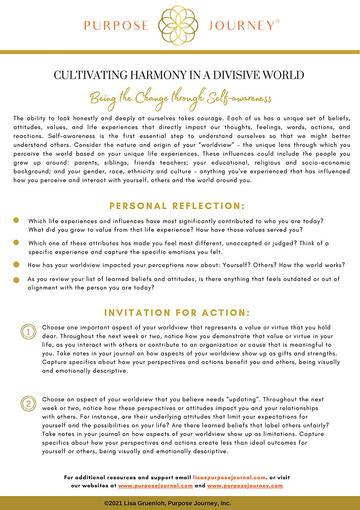 Being the Change Self Awareness Exercise