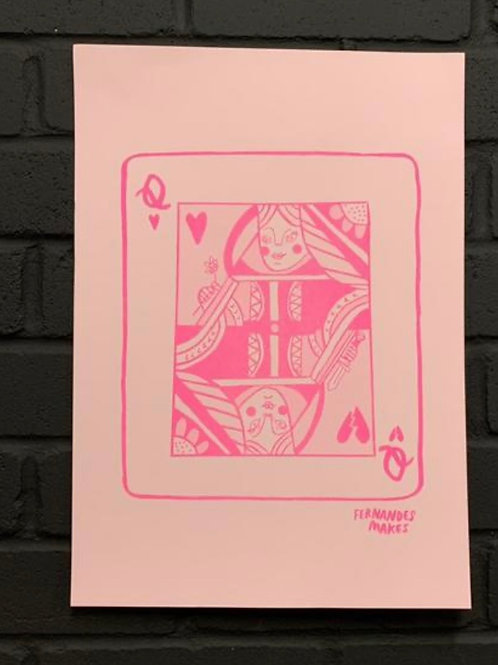 Queen Playing Card A3 Riso Print
