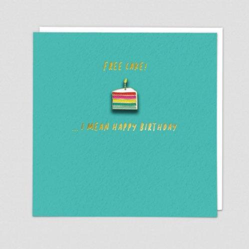 Free Cake Enamel Pin Card