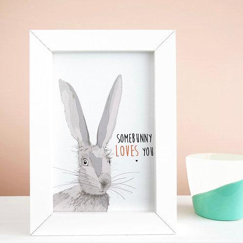 Bunny Rabbit Print 'Somebunny Loves You' Framed