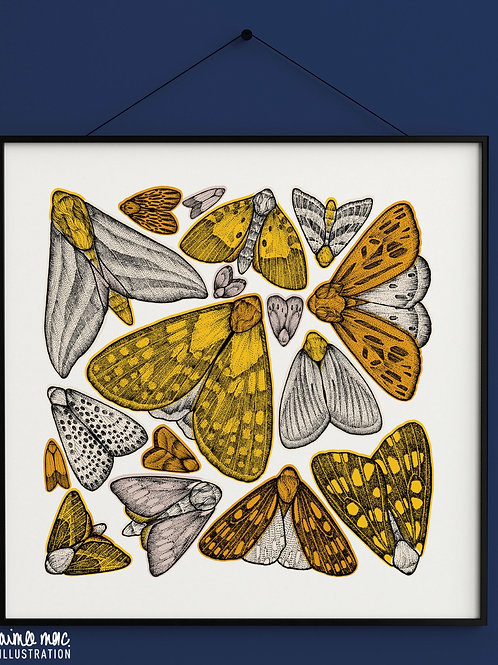 Yellow Moths Print- Aimee Mac