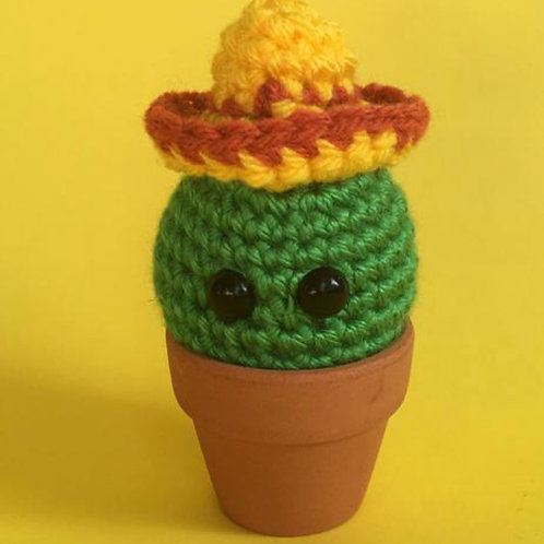Sombrero wearing Crochet Cactus