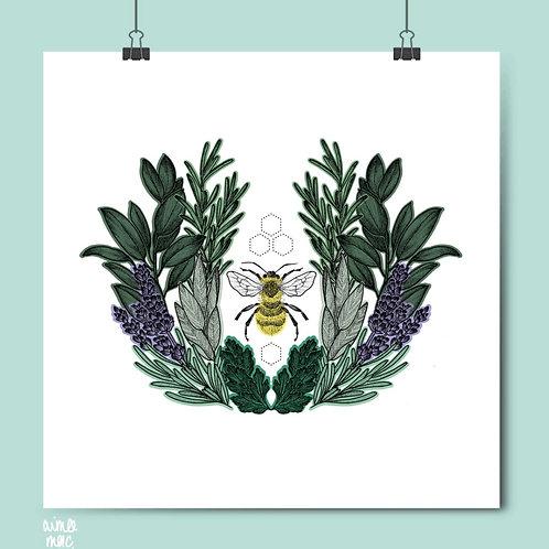 Lavender Bee Print- Aimee Mac
