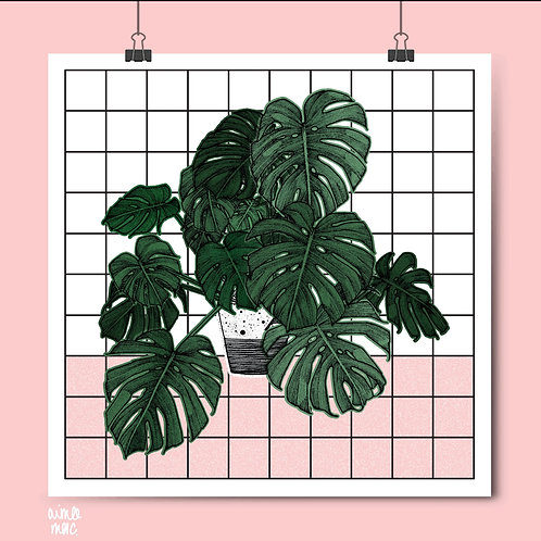 Monstera Grid Print- A3 Square