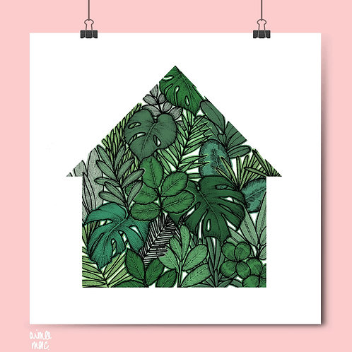 Green House Plant Print- A3 Square