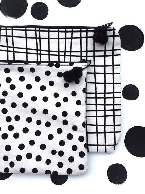 Polka/Grid Wash Bag- Small