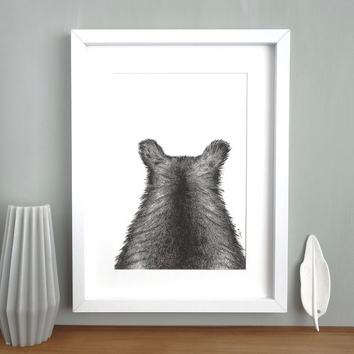 Bear Print 'The Grizzly one'- A4 Framed