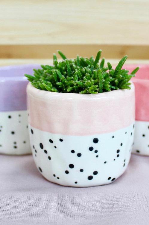 Small Polka Dot Pastel Pink Ceramic Plant Pot